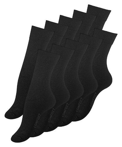 10 Paar Damen Socken schwarz, COMFORT , Ohne Gummibund, Baumwolle. Gr. 39-42