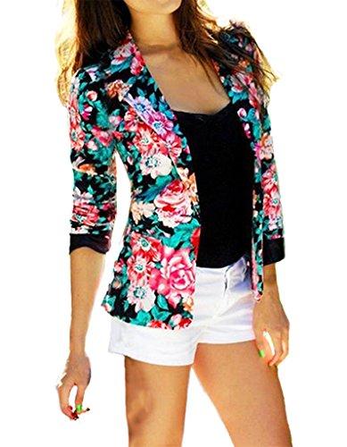365-Shopping Business/Casual Damen Kurze Blazer Anzug Langarm Kragen Slim Freizeizblazer Jacke