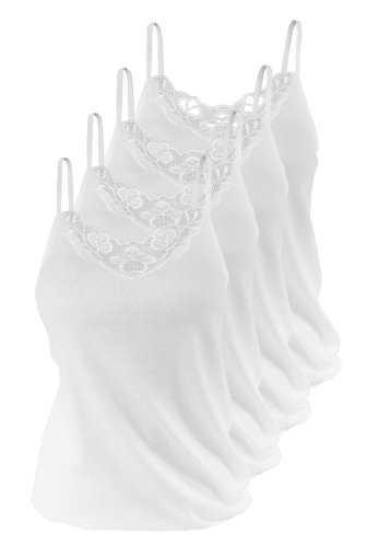 4 stück Damen Unterhemden Spaghettiträger aus 100%Baumwolle ÖKO Tex Standard 100, mit schöner Spitze von VCA Gr. 52/54