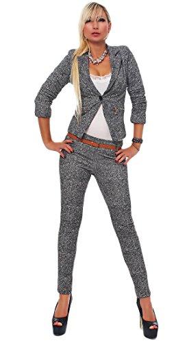 4417 Fashion4Young Damen Business Anzug Hosenanzug Hose und Blazer Weste Jacke in Grau 4 Größen (L = 38, Grau Weiß)
