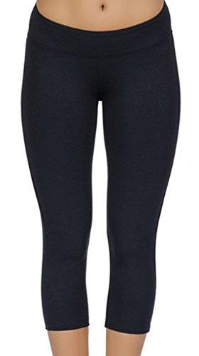 4How Leggings sport damen schwarz sportswear frauen hosen 3/4 Strupmfhose shorts Pants, M