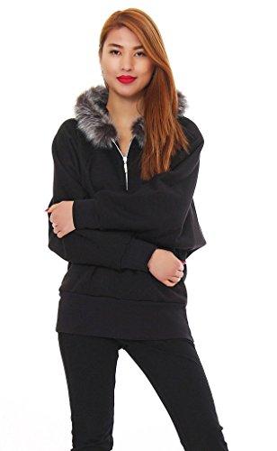 51-46 Japan Style von Mississhop Damen Sweatshirt mit Fellkapuze Jacke Fledermaus Pullover gefüttert schwarz M