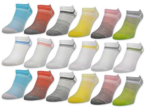 "6 oder 12 Paar Damen Sneaker Socken ""Gute Laune"" Baumwolle Damensocken ohne Naht - 36349 (39-42, 6 Paar | Farbmix)"