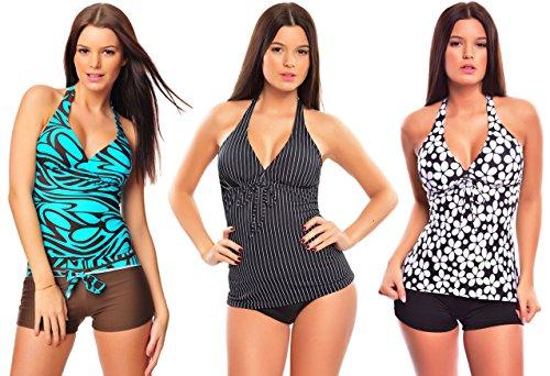 6 tlg. Bademode verschiedene Outfits / Push up Mix-Tankini mit Hotpants / Slip f4861 Farbe: Nr. 1 Türkis/Braun, Schwarz Nadeslstreifen, Schwarz/Weiß Blumen, Gr. 44