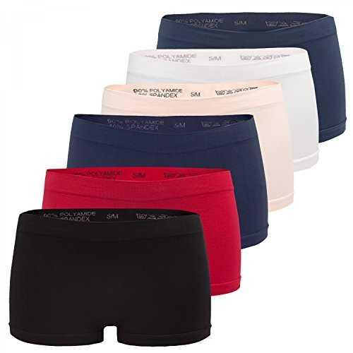 6er Pack Seamless Damen Panties Hipsters Boxershorts Perfekter Sitz sechs Farben, Größe:36/38, Farbe:Multifarb Set