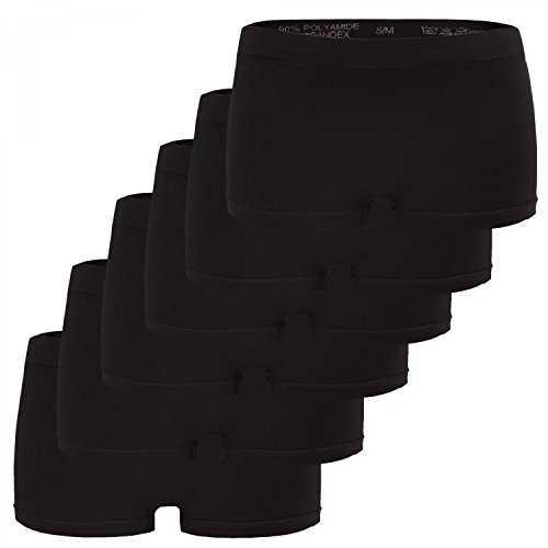 6er Pack Seamless Damen Panties Hipsters Boxershorts Perfekter Sitz sechs Farben, Größe:40/42, Farbe:Schwarz Set