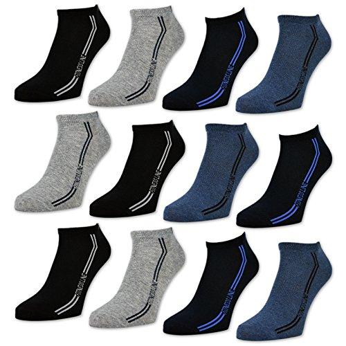 sockenkauf24 Herren Sport Sneaker Socken 8 oder 12 Paar - 16777 (43-46, 12 Paar | Farbmix)