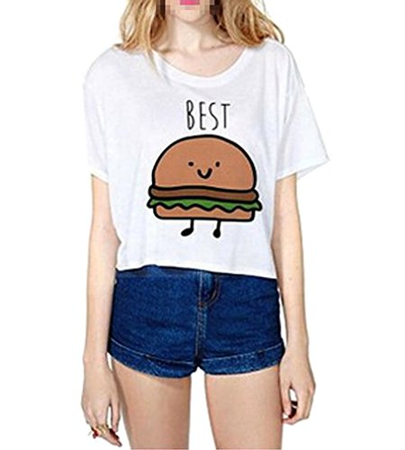 AIYUE Damen weiss Shirt kurzarm T Shirt Damen mit Aufdruck Best Friends T-Shirt Pommes Frites Damen Sommer Tops Mit Cartoon, 36, Weiss