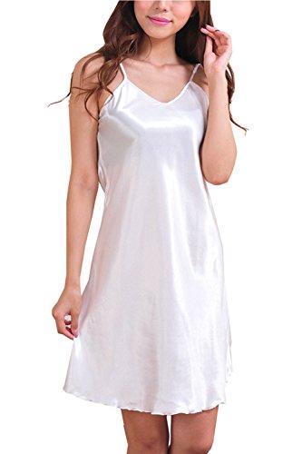 ASCHOEN Damen Nachtwäsche Schlafanzug Dessous Satin Kimono Morgenmantel Weiß L