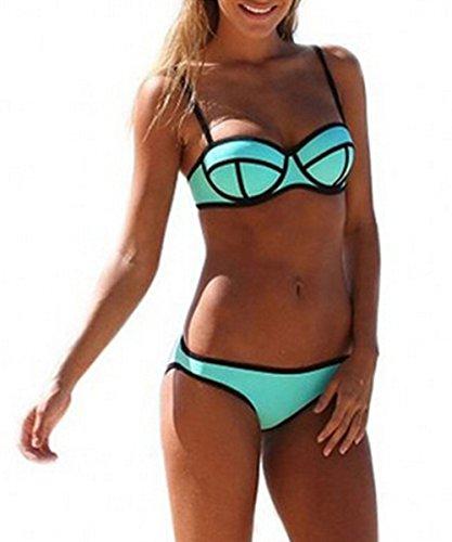 Aidoer Damen und Mädchen's Hot Sexy Mode Bikini-Sets Baden Bikini Push-Up-BH Badeanzug Bademode Badebekleidung (S, See-Grün)