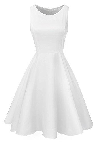 Anni Coco® Damen 1950er Vintage Rockabily Kleid Audrey Hepburn Partykleid Cocktailkleid Faltenrock Kleid Weiß Medium