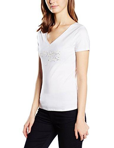 Armani Jeans Damen T-Shirt C5H49AB, Gr. Medium (Herstellergröße: 42), Weiß (BIANCO - WHITE 10)