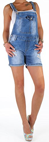BD Damen Jeans Shorts Latzhose Jumpsuit Overall Latzshorts in blau mit Rissen 42XL