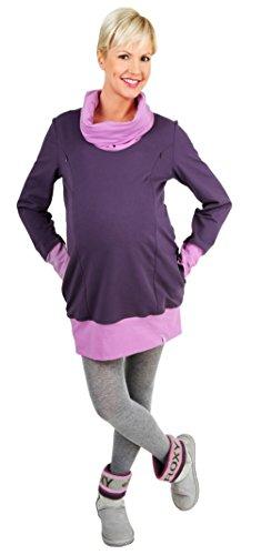 Be! Mama - 2in1 Umstandspullover, Sweatshirt, Still-Pulli, hochwertige Baumwolle, Modell: NELLA, lila, Größe L