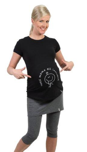 Be! Mama lustige Umstandsmode Schwangerschafts-T-Shirt, Modell: HOTEL, schwarz, Größe: L