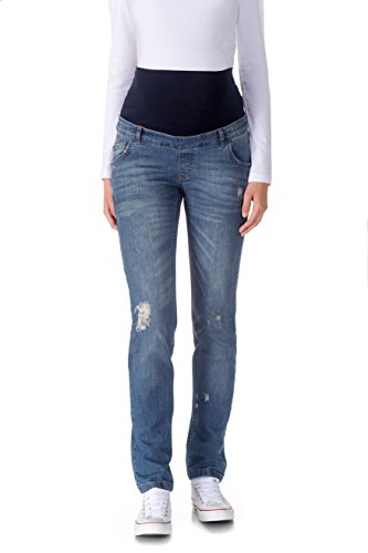 Bellybutton Maternity Damen Straight Leg Umstandshose MAYA - Hose - Slim Leg, Gr. W42, Blau (blue denim|blue 0013)