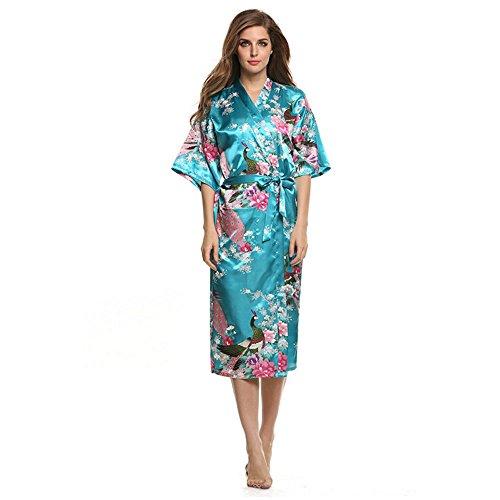 Belogo Sexy Damen Kimono Morgenmantel Bademantel lang aus Satin mit Peacock Schlafzimmer Negligee Nachtwäsche