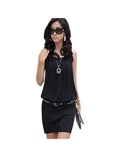 Bestgift Damen Kleid Eng Hintern Kleid Knielang Sommerkleid Abendveranstaltung Kleid Schwarz L