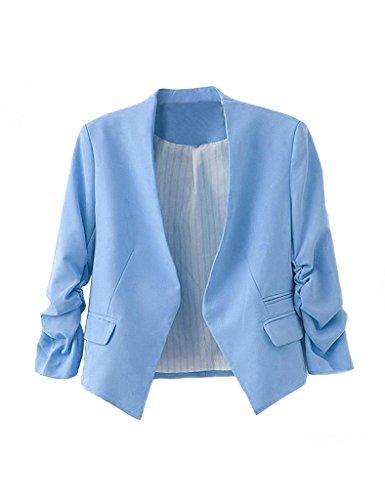 Bestgift Damen Reverskragen Anzug Business Freizeit Party Jacke Mode Anzug Blau M/EUR36
