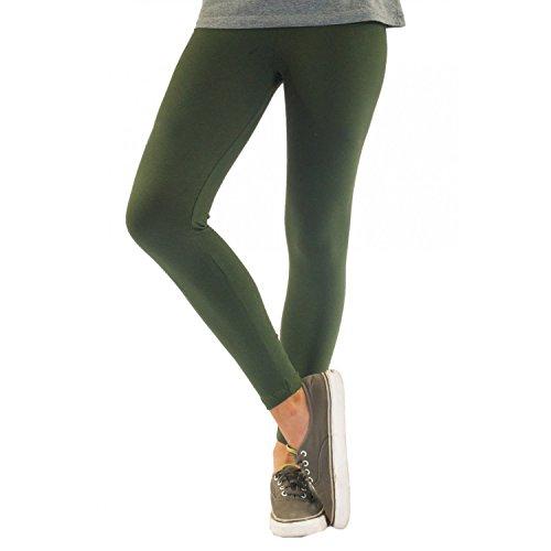 Blickdichte Damen Leggings aus Baumwolle Leggins Knöchellang in schwarz weiß grün grau rot gelb, Farbe: Dunkelgrün, Größe: 40-42