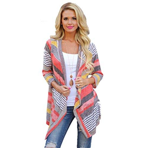 Bluse DDLBiz® Frauen Irregular Stripe Schal Kimono Cardigan Oberseiten-Bluse (M)