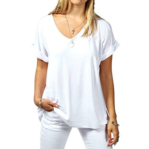 Butterme Sommer Frauen mit V-Ausschnitt beiläufige kurze Hülsen oversize T-Shirt Bluse Tees Tops Weiß