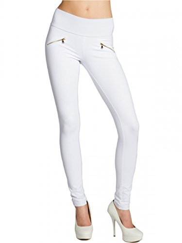CASPAR HLE008 Damen Stretch Leggings , Farbe:weiss;Größe:38 M UK10 US8