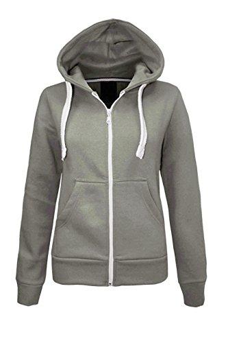 CEXI COUTURE Damen Kapuzen Sweatshirt Kapuzenpullover mit Reißverschluss Fleece Jacke - EU 36, Schwarz