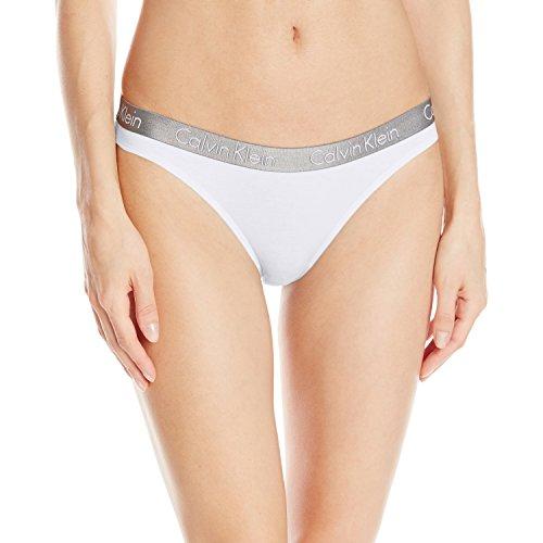 Calvin Klein Damen strahlend Baumwolle Tanga Panty, weiß Gr. M, Weiß - Weiß