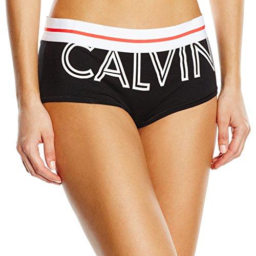 Calvin Klein, Damen Hipster Boyshort, Gr. 32 (Herstellergröße: XS), Schwarz (EXPOSED LOGO_BLACK XO1)
