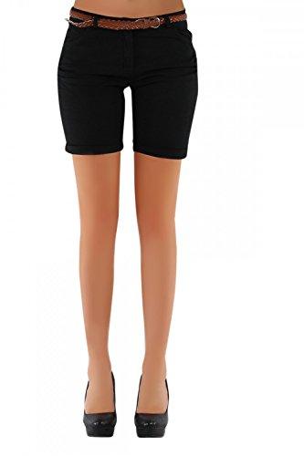 DANAEST Damen Shorts, Chino Hosen inkl. div. Gürtel ( 279 ), Grösse:38 M;Farbe:Schwarz