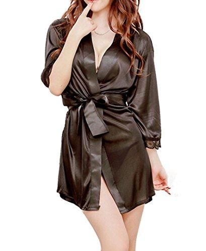 DDLBiz® 1pc Frauen Mode klassische Bademantel reine Rollenspiele Sexy Dessous Pyjamas (Schwarz)