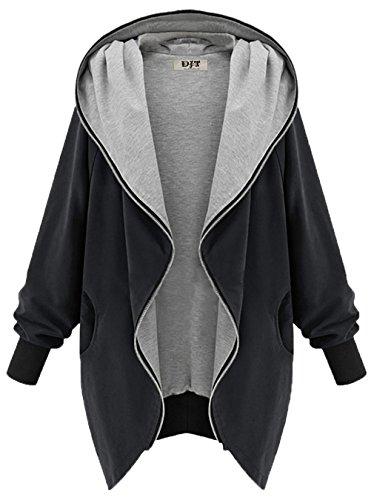 DJT Damen Uebergangsjacke Kapuzenpullover Zipper Hoodie mit Grosse Kapuze Schwarz Medium