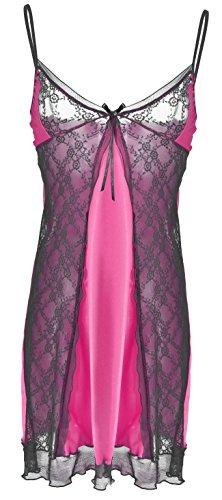 DKaren-Nachtwäsche Damen Negligee aus Satin MIRA (XS - 2XL) (2XL, Pink)
