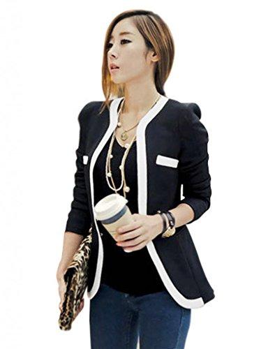 Damen Blazer kurz Jacke Oberteil Tops ohne Kragen DR498 Schwarz Gr.m
