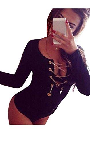 Damen Body Langarm Rollkragen Body Baumwolle Bodysuit