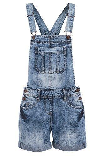 Damen Denim Latzhose Shorts, Größe 36-44 - Denim Blau, EU 40