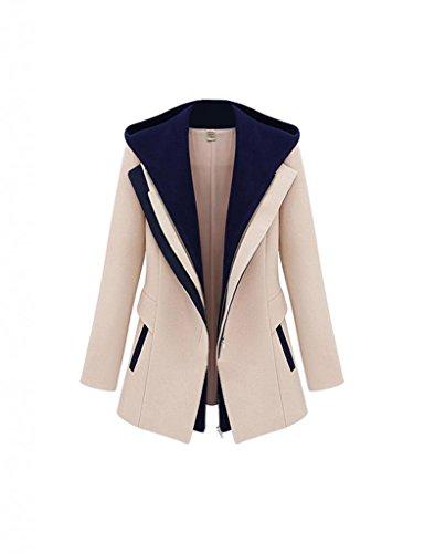 Damen Herbst Blazer elegant Schlank Mantel Jacke mit Reißverschluss Kapuze DR0613 Khaki Gr.M