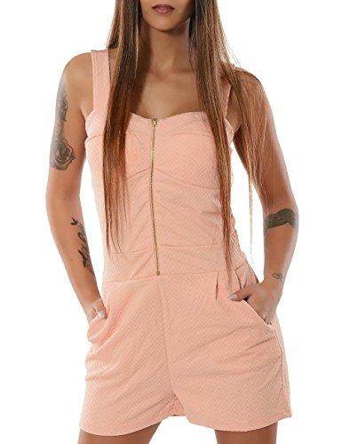 Damen Hotpants mit Hosenträger (weitere Farben) No 13217, Größe:XL / XXL;Farbe:Lachs