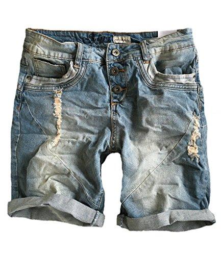 Damen Jeans Bermuda Short by STS Boyfriend Look tiefer Schritt Jeansbermuda mit Kontrastnähten washed, S
