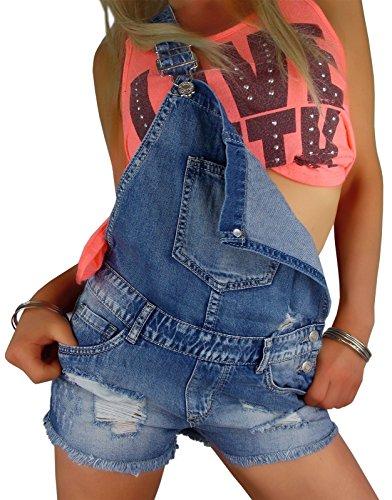 Damen Jeans Latzshorts in used effekt verwaschen, Größe:M-Maße beachten