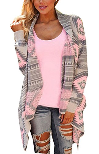 Damen-Langarmshirt Geometrische asymmetrische Strickjacke lose Pullover Mantel (XL/EU38, Rosa)