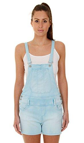 Damen Latzshorts - Blau kurze Latzhose Overalls für damen WOMSH02-UK 8