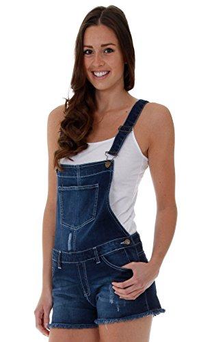 Damen Latzshorts Dark Wash Blau Damenmode Jeans Shorts Sommermode(SH11)