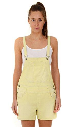 Damen Latzshorts - Gelb kurze Latzhose Overalls für damen WOMSH05-UK 10