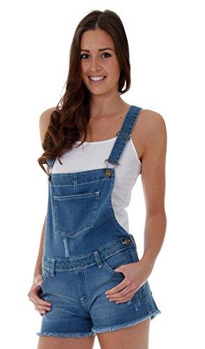 Damen Latzshorts Mid-Wash Blau Damenmode Jeans Shorts Sommermode(SH12)
