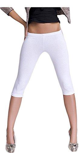 Damen Leggings 3/4 Länge Capri, verschiedene Farben, niedrige Taille LIL (S / M, Weiß)
