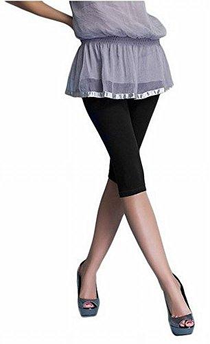 Damen Leggings Hose Capri 3/4 aus Baumwolle, verschiedene Farben (schwarz, S)