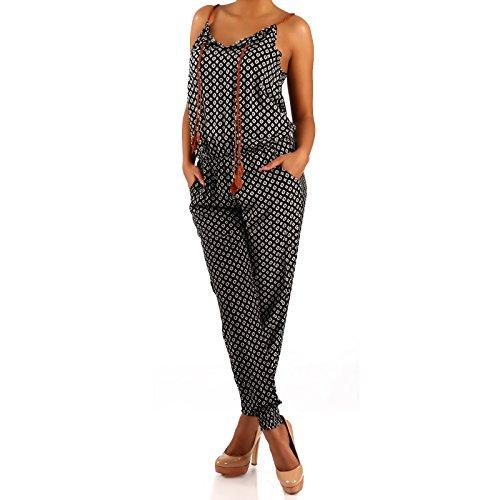 Damen Overall Jumpsuit Gemustert, Farbe:Mehrfarbig/Model7;Größe:34/36/38