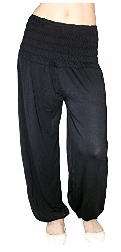 "Damen Pumphose ""Harems-Hose"" Einheitsgröße S M L XL XXL Yoga Pant Pluderhose lang (Schwarz)"